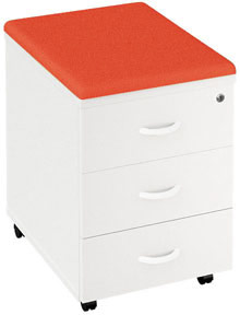 A photo of a low drawer unit on casters